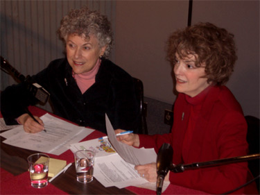 Linda Perlis and Sandra Burt in the studio